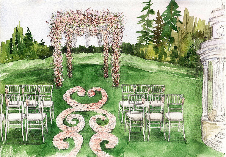 Классическая свадьба от агентства BMWedding эскиз иллюстрация