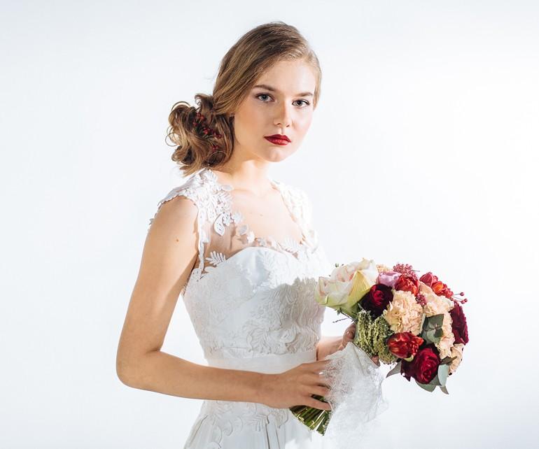 Классический круглый букет для невесты